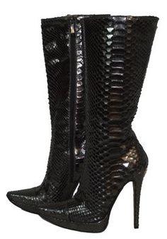 8fc71744171 Gianmarco Lorenzi Black with A Silverish Tint Boots Booties Size US 6.5  Regular (M