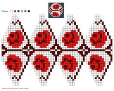 knitting chart made by -- Made me think of Ladybugs. Christmas Knitting, Christmas Toys, Christmas Baubles, Crochet Ornaments, Beaded Ornaments, Felted Slippers Pattern, Fair Isle Chart, Seed Bead Flowers, Vogue Knitting