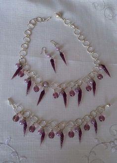 parure collana,orecchini e bracciale, argento e vetro di murano