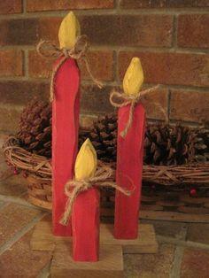 Primitive Candele di Natale in legno rustico da dlightfuldesigns, $ 15,00