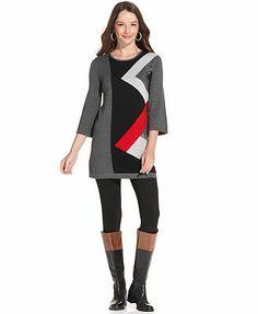 Style&co. Three-Quarter-Sleeve Sequin Sweater Tunic