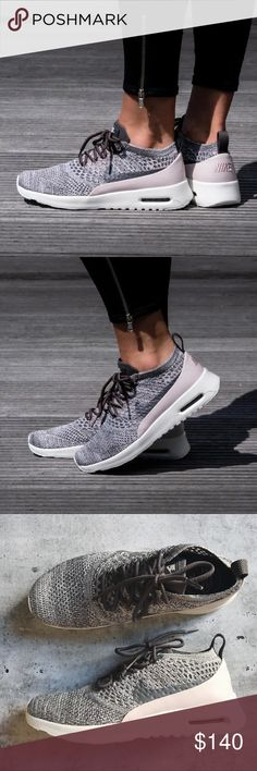 Nike Air Max Thea Grey + Blush Flyknit Sneakers •Air Max Thea Flyknit Sneakers •Women's size 9, runs narrow. •New in box, no lid. •No trades, no holds. Nike Shoes Sneakers