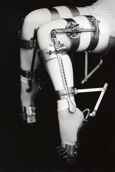 Vintage metal leg braces, used as a torture device.