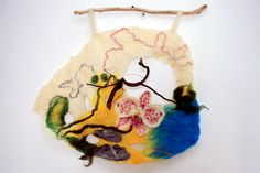 "Wall hanging, Art woolen tapestry, Felted picture ""Оrchid"""