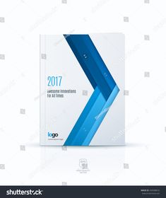 Cover design template for annual report. Brochure or leaflet in A4 with blue triangle arrow for business in flat material design style with overlay effect. Abstract modern vector illustration.