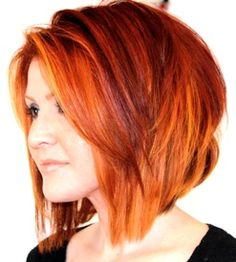 Photos of real hair behind my chair with a brief description of my color, cut, and type of hair my client has. - LOVE this color and cut.