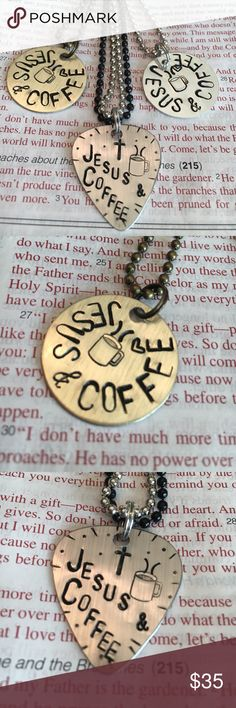 "✝️☕️Jesus & Coffee☕️✝️ ✝️☕️ Custom Hand Stamped Design☕️✝️Lightweight  Dog Tag✝️Choose 1"" round Shiny Silver or Brushed Brass or Guitar Pick in Brushed Silver✝️Also can be custom stamped just send me message. Each one comes in 30"" Ball chain/can be a keychain Comes wrapped for the perfect gift SpiritSnaks Jewelry Necklaces"