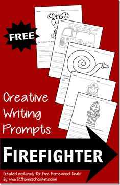 Creative Writing Prompts: Firefighter The creative writing prompts each contain a black & white illustration your child can color as well as a writing prompt and lines. These are perfect for preschool, kindergarten, and early elementary aged kids.