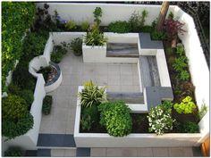 Katherine Edmonds Garden Design - Portfolio - Modern Courtyard Garden Patio area with fire bowl