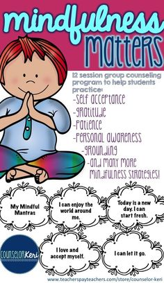promote mindfulness with small group counseling! -Counselor Keri Mindfulness for Kids Elementary School Counseling, School Social Work, Group Counseling, Counseling Activities, School Counselor, Therapy Activities, Elementary Schools, Activities For Kids, Play Therapy