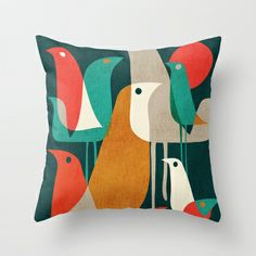 Flock of Birds Throw Pillow by Budi Satria Kwan - $20.00