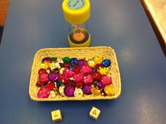 The Queens Jewels! They used a timer and + and - dice. take them out of the basket if you get a + or put them back in if you get a - ! How many did you get altogether when the timer ran out? We have been estimating. no link, just the picture.