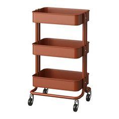 IKEA - RÅSKOG, Rullebord, Den solide konstruktion og de 4 hjul gør det nemt for dig at flytte rullebordet og bruge det, hvor du har lyst. Det er lille og passer ind overalt.Perfekt til ekstra opbevaring i køkkenet, entreen, soveværelset eller på hjemmekontoret.Den midterste hylde er flytbar, og rullebordet er nemt at tilpasse, så det passer til de ting, du vil opbevare.