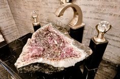 A sink made from a gemstone geode!