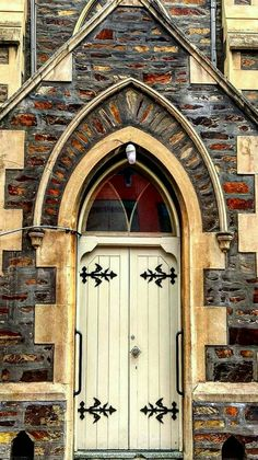 White church door in Adelaide, Australia.