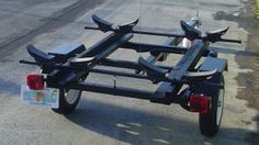 Kayak and Canoe Trailer Projects - Harbor Freight Utility Trailers Kayak Trailer - Harbor Freight Mini Trailer<br> Check out the incredible kayak and canoe trailers made from Haul-Master utility trailers at Harbor Freight. Kayaks, Kayak Storage Rack, Kayak Rack, Storage Cart, Garage Storage, Kayaking Gear, Kayak Camping, Canoeing, Camping List