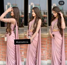 Drape saree , purple lavender lilac saree for farewell Trendy Sarees, Stylish Sarees, Fancy Sarees, Stylish Dresses, Indian Fashion Dresses, Dress Indian Style, Indian Outfits, Saree Designs Party Wear, Farewell Sarees