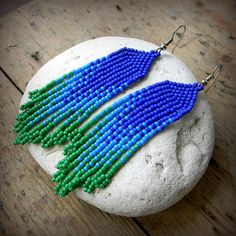 Beaded earrings Blue and Green Seed Bead Earrings by Anabel27shop