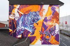 in Giessen in Germany Italian Artist, Mural Art, Art Festival, Art Projects, Germany, Urban, River, Night, Artwork
