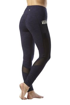 3749387655 Yogalicious High Waist Mesh Leggings with Phone Pocket Tummy Control Yoga  Pants Heather Blue Moon Medium