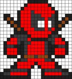 Deadpool Perler Bead Pattern / Bead Sprite