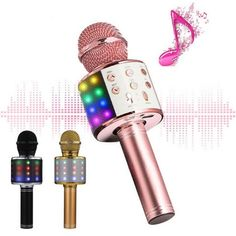 Description: The latest upgraded version of the microphone, perfect sound quality, add cool lights. Built-In Bluetooth Speaker can connect to any Bluetooth enabled source (Smartphone, Tablets, Car, PC, and more) Three-layer automatic noise reduction design, restore real sound, karaoke level experience Multi-function adjustment panel, rich and varied functions