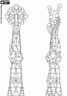 Details of the towers of the Nativity Façade of the Sagrada Familia in Barcelona, architect Antoni Gaudí Pattern Coloring Pages, Colouring Pages, Coloring Book, Antonio Gaudi, Classroom Art Projects, Art Nouveau, Architectural Section, Alphabet Art, Bible Art
