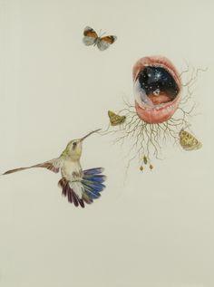 "Julia Randall, ""Decoy 1"", 2004,  colored pencil on paper, 30"" x 22"""