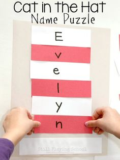 Create a Cat in the Hat name puzzle for kids for Dr. Seuss Read Across America