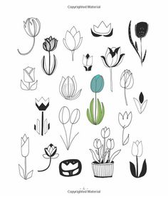 20 Ways to Draw a Tulip and 44 Other Fabulous Flowers: A Sketchbook for Artists, Designers, and Doodlers: Lisa Congdon: Amazo. Doodles Zentangles, Zentangle Patterns, Doodle Inspiration, Tattoo Inspiration, Tulip Tattoo, Flower Doodles, Sketch Painting, Skin Art, Doodle Art