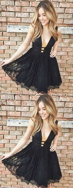 Unique v neck lace short prom dress, black lace cute homecoming dress, cute cocktail dress for teens