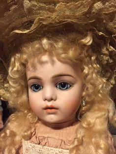 "ANGELIC!  25"" Bru Jne #13 French Bebe Doll In Lovely Silk Dress, Antique Hat!"