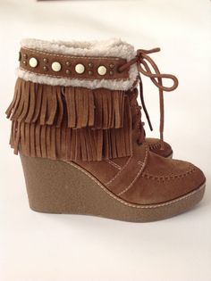 SAM EDELMAN Brown KEMPER Faux Shearling Suede Fringe Wedge Boots Size 8.5 NEW #SamEdelman #AnkleBoots