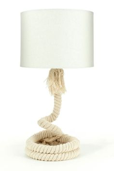 Maritime table lamp lamp - rope rope white screen table lamp in furniture . Rope Lamp, Best Business Ideas, Lampshade Designs, Diy And Crafts, Interior Design, Table Lamps, Cool Stuff, Lighting, Wordpress
