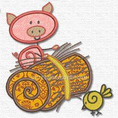 Free Embroidery Design: Piggy - I Sew Free
