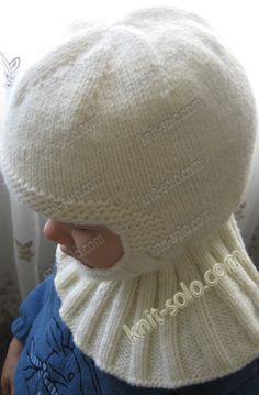 шапка-шлем спицами для ребенка 2-4-х лет