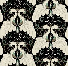 Deco Swans - 01 Aged Gold/Lt Green on Black  [JUT-01] Contemporary & Transitional | DesignerWallcoverings.com ™ - Your One Stop Showroom for Custom, Natural, & Specialty Wallcoverings | Largest Selection of Wall Papers | World Wide Showroom | Wallpaper Printers