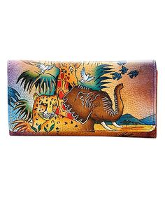 Purple Jungle Hand-Painted Leather Wallet by Biacci #zulily #zulilyfinds