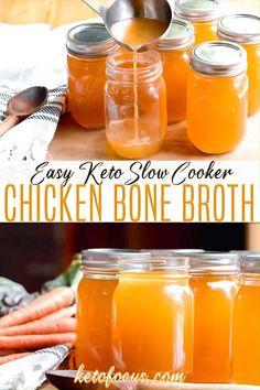 Slow Cooker Chicken Broth, Chicken Bone Broth Recipe, Chicken Broth Recipes, Best Bone Broth Recipe, Slow Cooker Bone Broth, Natural Cold Remedies, Cold Home Remedies, Benefits Of Chicken, Chicken Bones