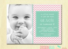 Girl's Chevron Birthday Invitation - 1, 2, 3, 4, 5 year old - 1st Birthday Girl - Pink, Teal Chevrons - ANY Age Birthday on Etsy, $15.44 AUD