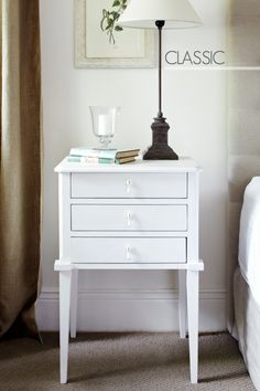 Classic White Bedside Table - Gloss