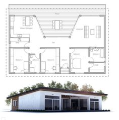 32 Ideas large container house floor plans for Small house plan with large covered terrace and large . Container House Price, Container House Plans, Container House Design, Small House Design, Best House Plans, Modern House Plans, Small House Plans, Cabin Floor Plans, Bedroom Floor Plans