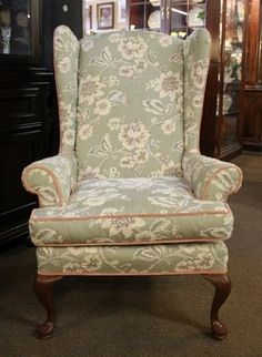 Wing Back Chair By Pullman In A Queen Anne Style With Grey / Green And Rose
