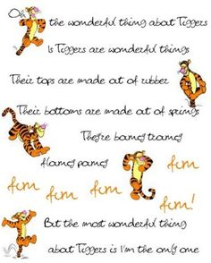 Day One Part Two favorite character: Tigger! Because he's the only one!