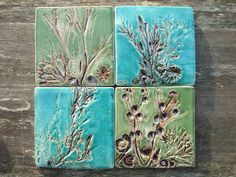 Coasters, handmade ceramic tiles, shells, fossils and seaweed from the Jurassic coast, green and turquoise MADE TO ORDER Personalized Candles, Personalized Birthday Gifts, Handmade Tiles, Handmade Ceramic, Cerámica Ideas, Turn To Stone, Jurassic Coast, Clay Tiles, Pottery Designs