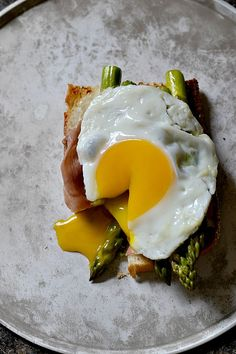 Goat Cheese, Asparagus and Prosciutto Egg Sandwiches