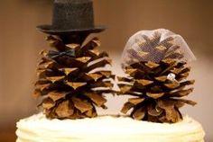 DIY Cake Topper : wedding autumn brown cake cone diy fall hat pine pinecone reception top tophat topper veil 33ff0b830e146d23fb536740e1411f...