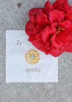 Z if for Zinnia Flower # 3820 yellow, Flower Center #598 aqua &  Letters #3790 medium brown