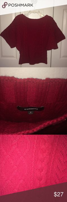 EXPRESS Dolman Sleeve Sweater Express candy apple red cable knit dolman sleeve sweater. Super warm and very stylish! Size Small. Express Sweaters