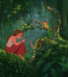 I love when Tarzan takes Jane to see endless birds. They are such a cute couple. I like that she isn't a princess and that she draws and teaches Tarzan about people and love. Just a beautiful Disney movie.